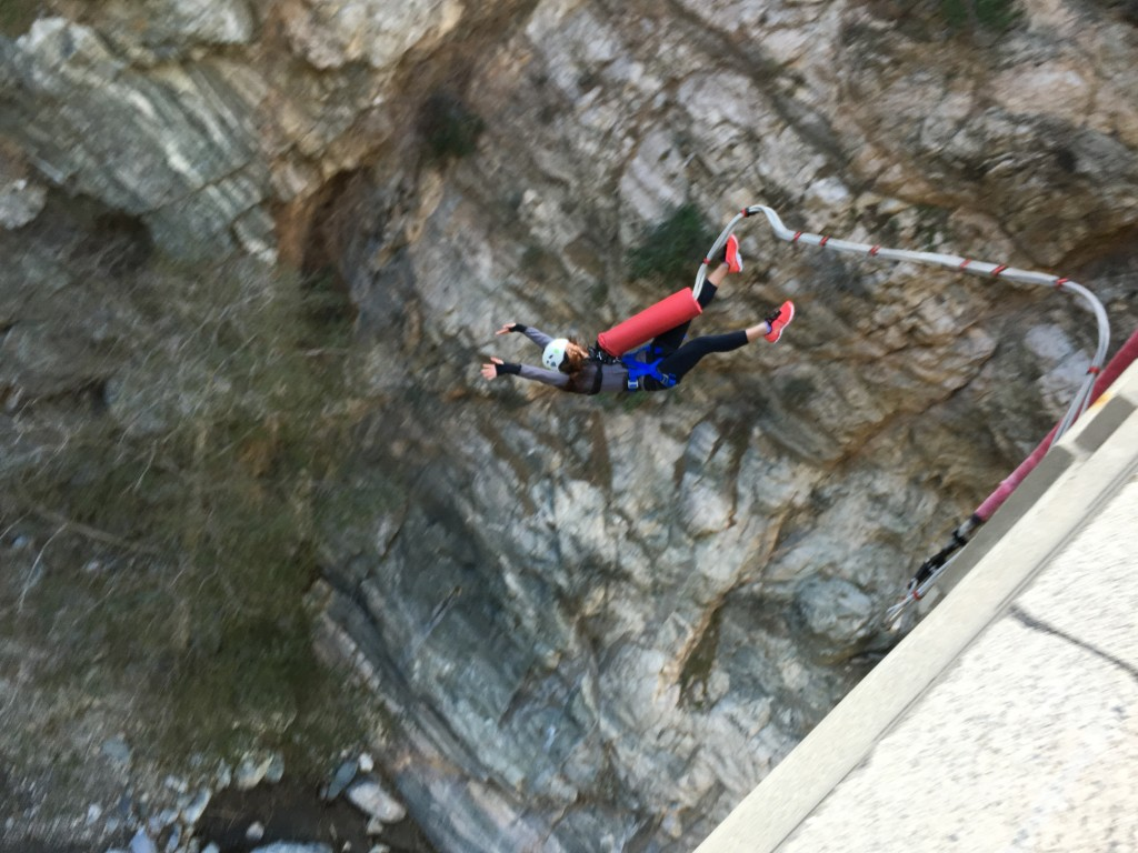 Priscilla bungee jumping off a bridge in Los Angeles with Bungee America