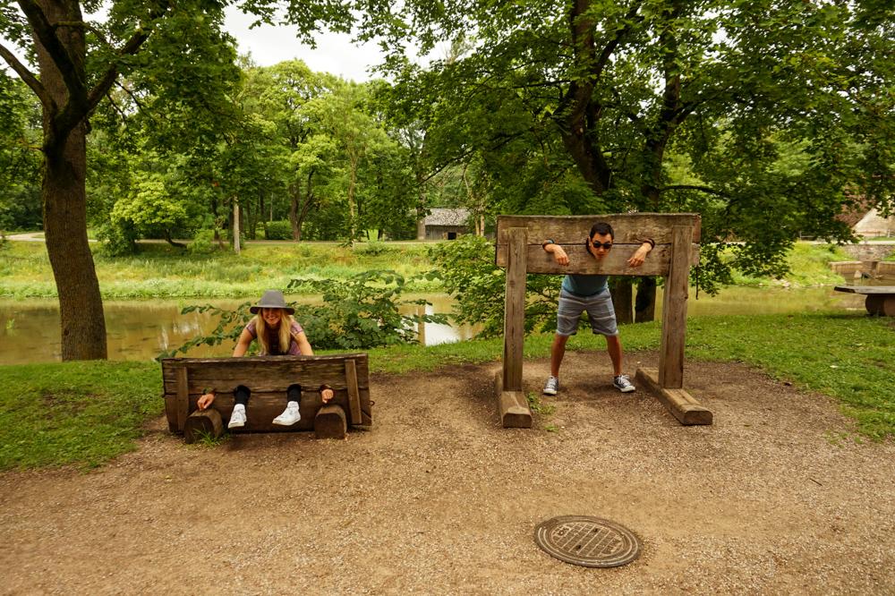 Wooden stocks in Jaunspils Castle, Latvia