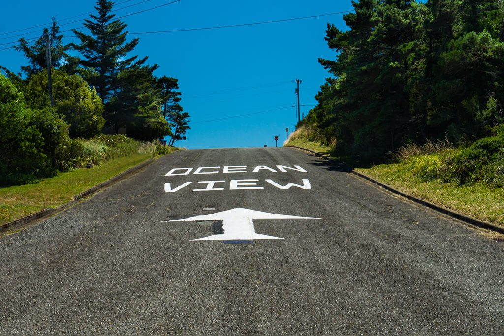 Ocean View Giant Sign on Oregon Street in Port Orford