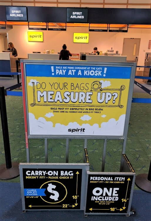 spirit airlines carry on sizes