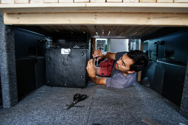 diy car camper conversion fridge