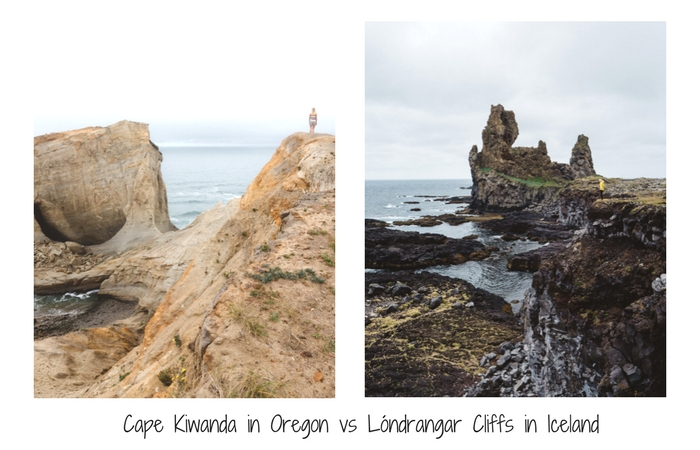 Cape Kiawanda in Oregon vs Longdrangar cliffs in Iceland