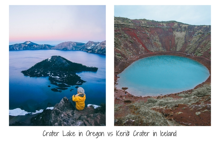 Crater Lake Oregon vs Kerid Crater Iceland