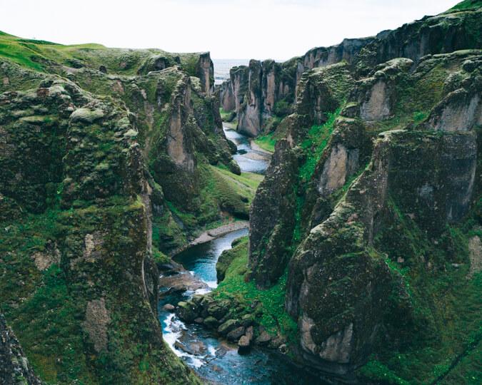 Fjaðrárgljúfur canyon in iceland summer