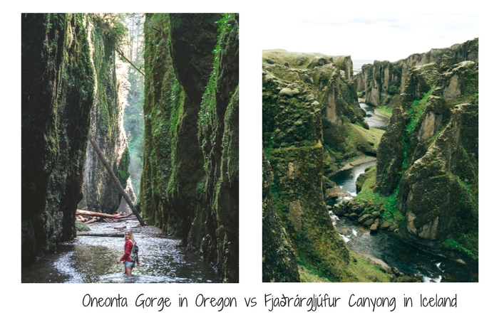 Oneonta gorge in Oregon vs Fjaðrárgljúfur Iceland