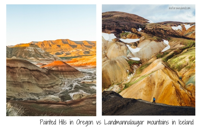 Painted Hills in Oregon vs Landmannalaugar in Iceland