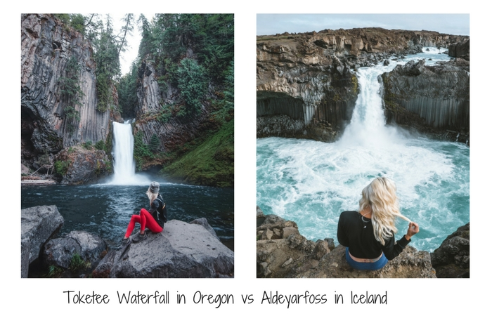 Toketee Waterfall Oregon vs Aldeyarfoss in Iceland