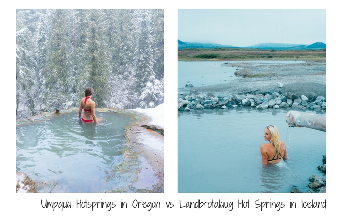Umpqua Hot Springs in Oregon vs Landbrotalaug hot springs in Iceland