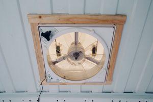 DIY promaster campervan conversion installing ceiling fan