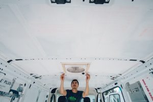 how to install ceiling insulation promaster campervan conversion