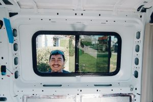 used campervan conversion installing windows