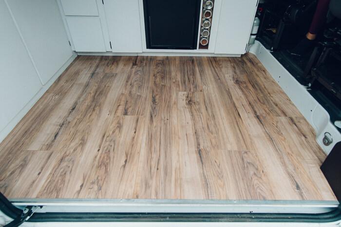 campervan light laminate wood floor