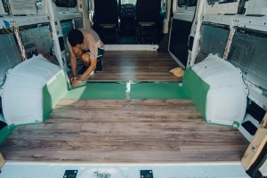 diy promaster campervan laminate light wood floor