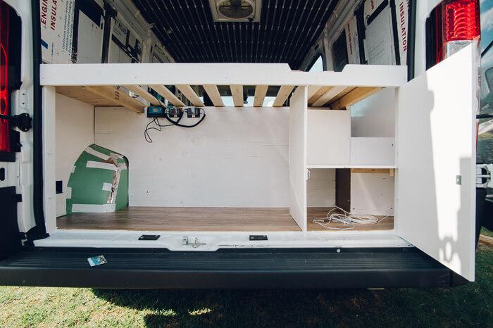 diy promaster campervan storage under bed