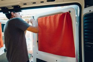 installing curtains and accessories campervan conversion