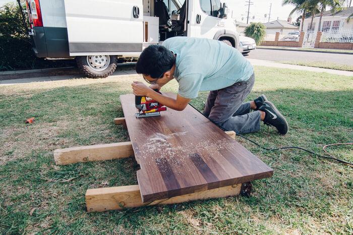 kitchen counter installation promaster camper van