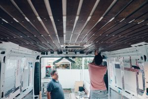 promaster custom built diy ceiling dark wood
