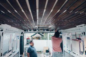 promaster custom built diy ceiling dark wood