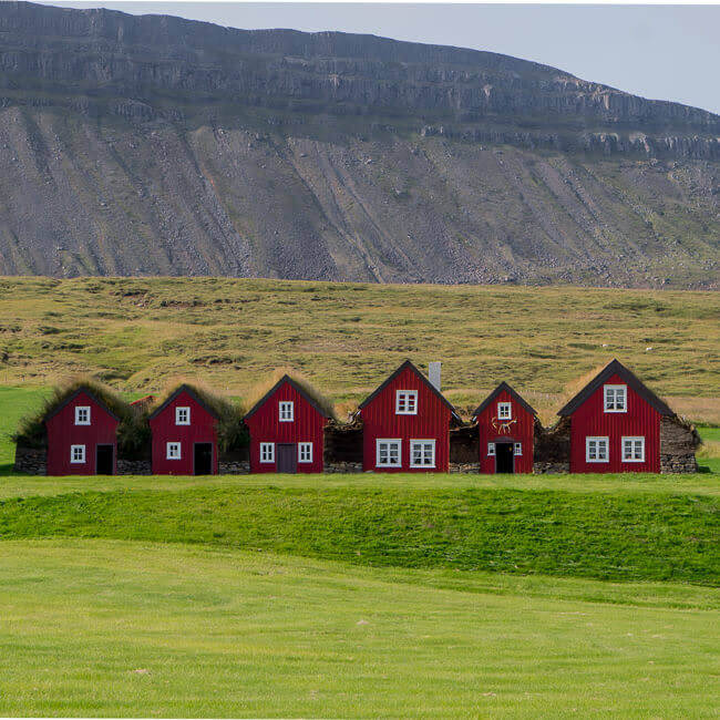Bustarfell Red Houses Iceland
