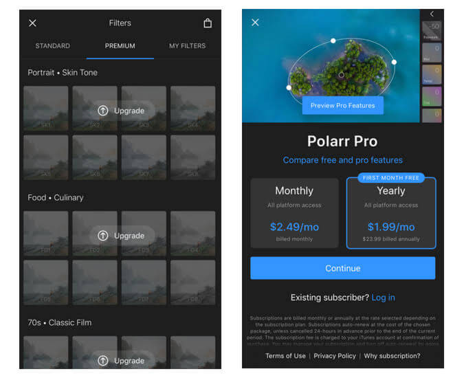 Polarr monthly subscription