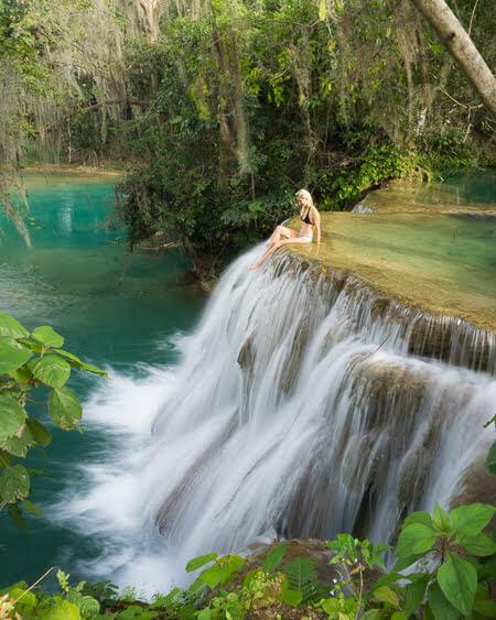 san luis potosi nature waterfalls trampolin tamasopo mexico
