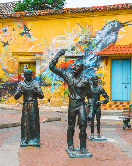 Things To Do Cartagena Colombia Street Art Statues In Getsemani Wall Mural