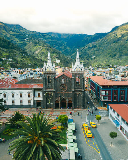 Things To Do in Banos Ecuador Plaza And Nuestra Senora Del Rosario De Agua Santa Church