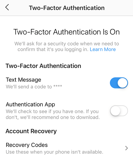 how to prevent your Instagram account from getting hacked two factor authentication