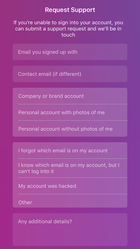 instagram request support form to get back hacked instagram account